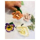 4 Porcelain Roses Cape demonte style One is marked