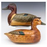 GREEN-WINGED TEAL HEN & DRAKE DECOYS MARKED PERDEW