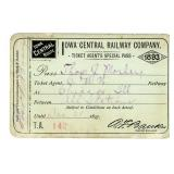 AN 1893 IOWA CENTRAL RAILWAY CO. SPECIAL PASS
