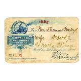 AN 1893 MILWAUKEE, LAKE SHORE & WESTERN RR PASS