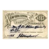 AN 1883 NEW YORK CENTRAL SLEEPING CAR CO. RR PASS