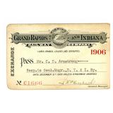 A 1906 GRAND RAPIDS AND INDIANA RAILROAD PASS