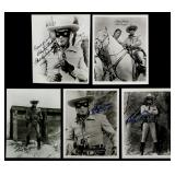 FIVE CLAYTON MOORE SIGNED LONE RANGER PHOTOGRAPHS
