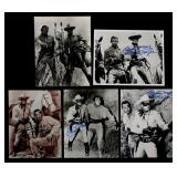 FIVE SIGNED CLAYTON MOORE LONE RANGER PHOTOGRAPHS