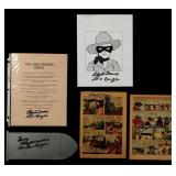 SIX CLAYTON MOORE SIGNED LONE RANGER ITEMS