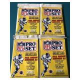 4 Sealed 1990 Pro Set Football Trading Packs