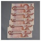 (5) Canada 1986 mint condition 2 dollar notes