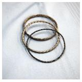 (3) Tested 800 Silver bangles