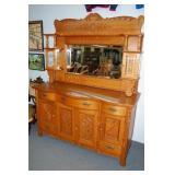 Flame oak mirror back sideboard,