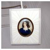 SIgned miniature painting on porcelain, 3.5 x 4.5