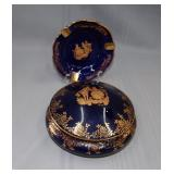 (2) Limoges pieces, covered dish and ashtray