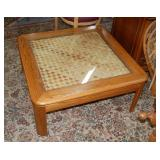 Glass top basket weave coffee table, 36 x 36 in.
