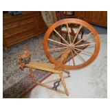 Antique spinning wheel, 46 x 44 inches