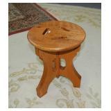 Oak stool, 12.5 x 16 inches