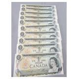 (10) Canada 1973 UNC consecutive 1 dollar notes