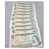 (10) Canada 1973 UNC consecuribe 1 dollar notes