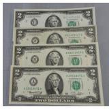 (4) United States 1976 2 dollar notes