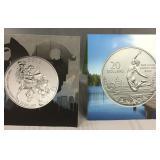(2) Canada 99.99 fine silver 20 dollar coins
