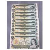 (1) Canada 1973 UNC consecutive 1 dollar notes