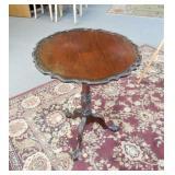 Walnut tilt-top pie crust table, 24 x 27 inches