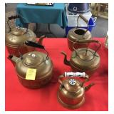 Lot of 5 copper display kettles
