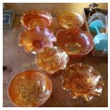 (7) Pieces of Carnival Glass