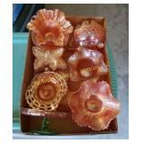 Box of Carnival Glass Pieces