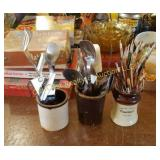(3) Crocks of Utensils & Brushes