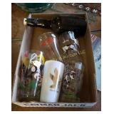 Box of Glasses & Bottle