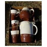 Stoneware Teapot, Pitcher & Cups