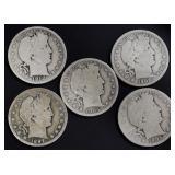 Coins - 5 Barber Half Dollars
