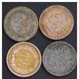 Coins - 4 Indian Head Pennies