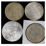 Coins - 3 1921 Morgans and 2014 Silver Eagle Unc.