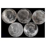 Coins - 5 BU 1964 Kennedy Halves