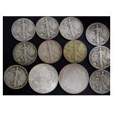Coins - 2 1921 Morgans and 10 Walking Liberties