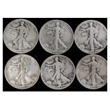 Coins - 6 walking liberty half dollars
