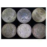 Coins - 6 Silver Dollars