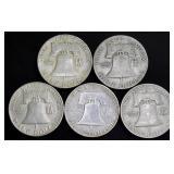 Coins - 5 Franklin Halves & 5 Walking Liberties