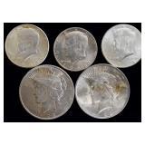Coins - 2 1922 Peace & 3 BU Kennedy Halves