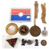 Coin Belt, Pins, Pendants