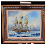 Art - Ship Picture with light on frame