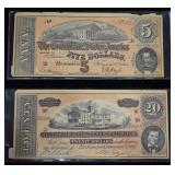 Confederate $5 and $20 Facsimiles