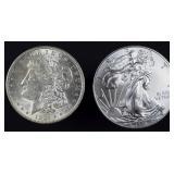 1921 Morgan silver dollar + 2014 BU silver eagle