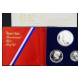 1976 silver proof set (3 coins) & dimes (4 coins)