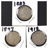 1883, 97, 1912 Liberty Head Nickels (3)
