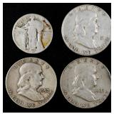 U.S. silver coin lot (4 coins)