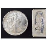 1986 BU Silver Eagle & 1ozt fine silver