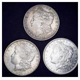 3 Morgan Silver Dollars - 1883, 1889 & 1921-d