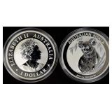2019 Australian silver Koalas, .9999 silver (2)