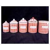 3 French Enamelware Canister Sets, Red / White